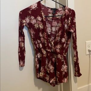 Burgundy flower long sleeve romper